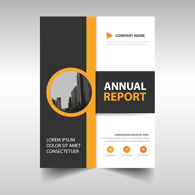 Yellow abstract annual report template Vector Free Download
