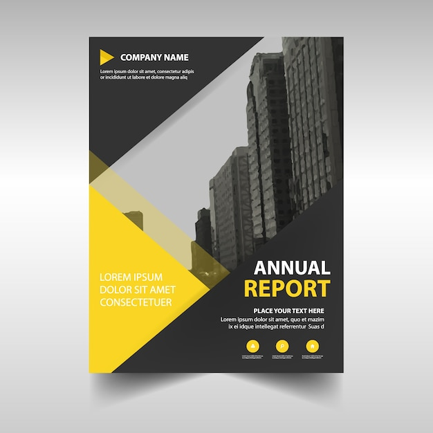 Yellow abstract corporate annual report template Vector Free