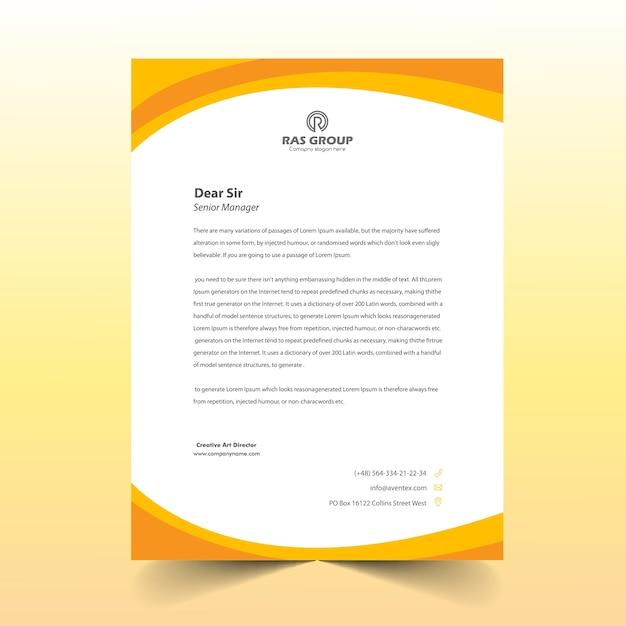 Yellow abstract letter head design Premium Vector