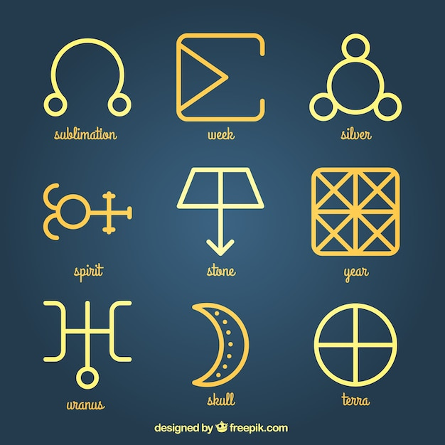 Yellow Alchemy Symbols Vector Free Download