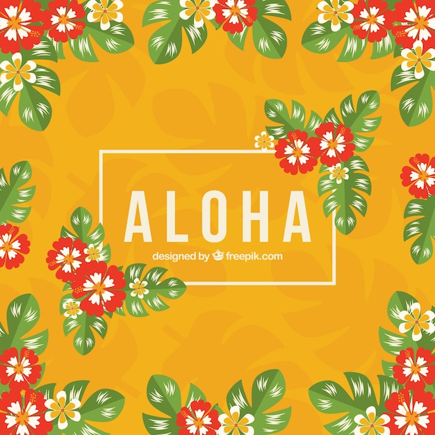 Yellow aloha background with tropical\ flowers