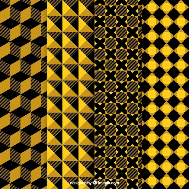 Yellow and black abstract patterns Free Vector
