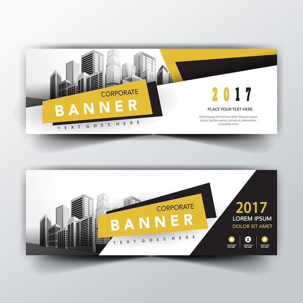 yellow and black back and front banner templates Free Vector