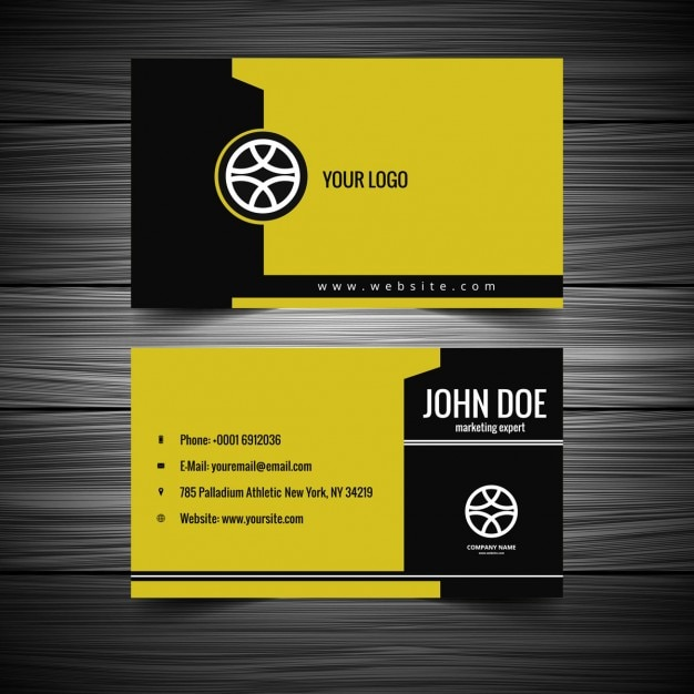 Yellow and black business card vector free download yellow and black business card free vector reheart Gallery