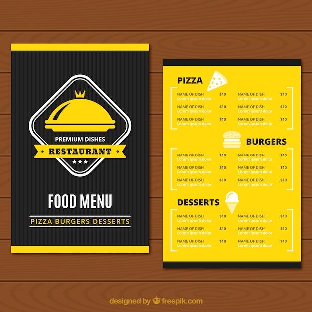 Yellow and black restaurant menu