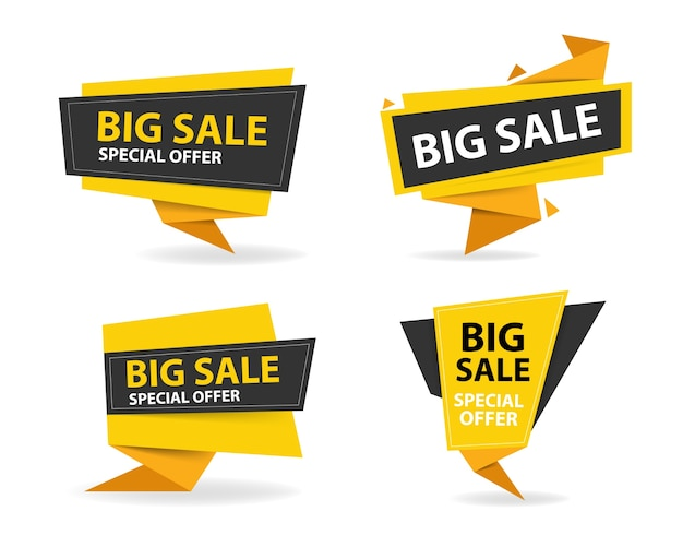 Yellow and black shopping sale banners Free Vector
