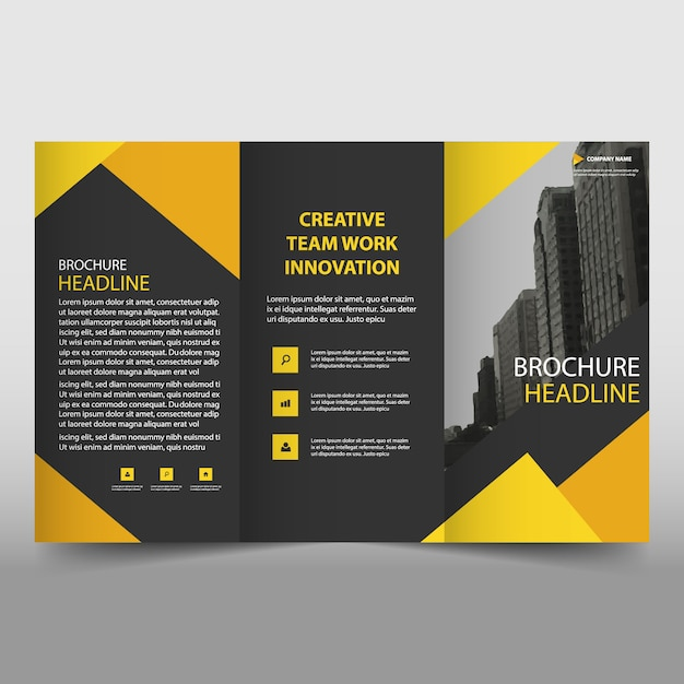 yellow and black trifold business brochure template free vector