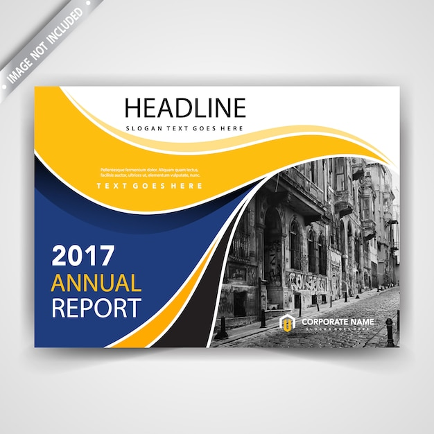 yellow and blue horizontal leaflet cover Free Vector