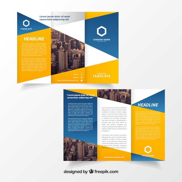 Yellow And Blue Trifold Brochure Template Vector Free Download