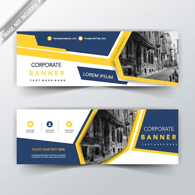 Yellow and blue two sided banner templates Vector | Free Download