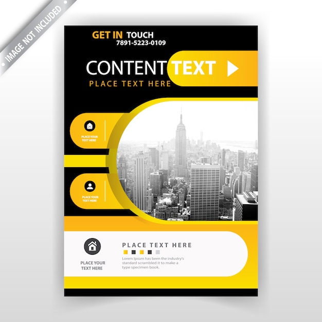 yellow and dark flyer template Free Vector