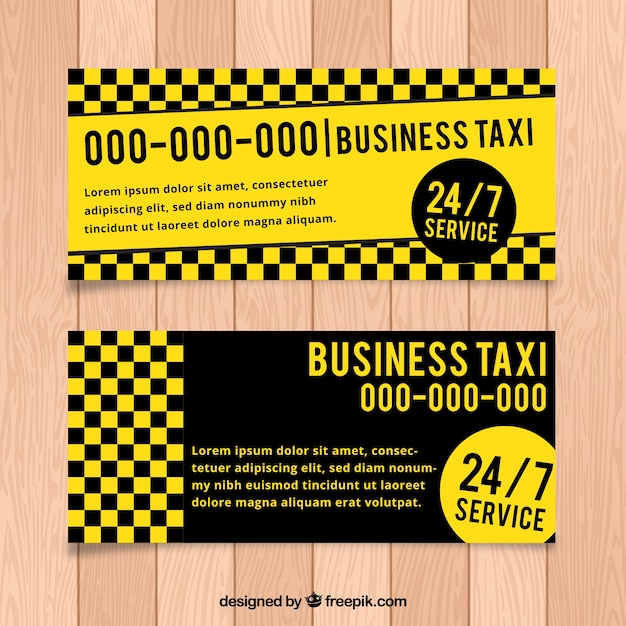 Yellow and dark taxi banners