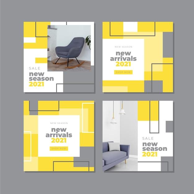 노란색과 회색 추상 instagram 게시물 모음 무료 벡터