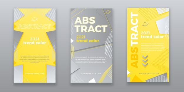 노란색과 회색 추상 instagram 이야기 모음 무료 벡터