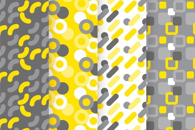 黄色と灰色の幾何学模様のコレクション 無料ベクター