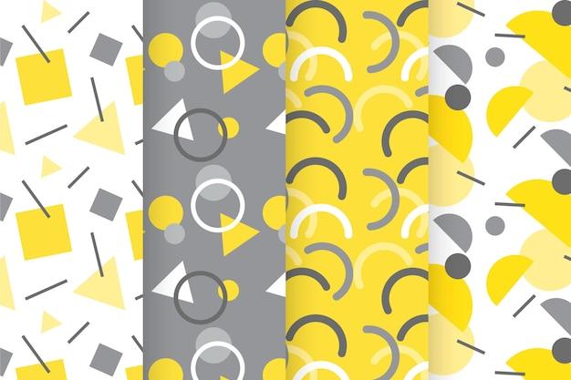노란색과 회색 기하학적 패턴 컬렉션 무료 벡터