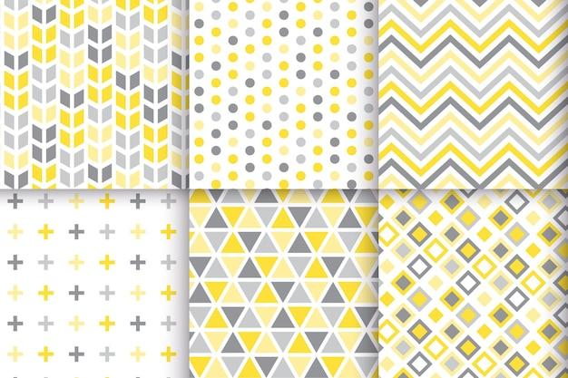 노란색과 회색 기하학적 패턴 세트 무료 벡터