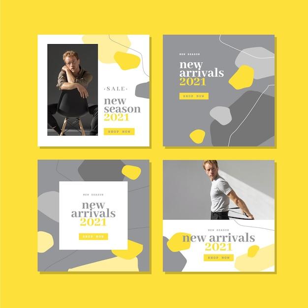 노란색 및 회색 유기 instagram 포스트 팩 무료 벡터