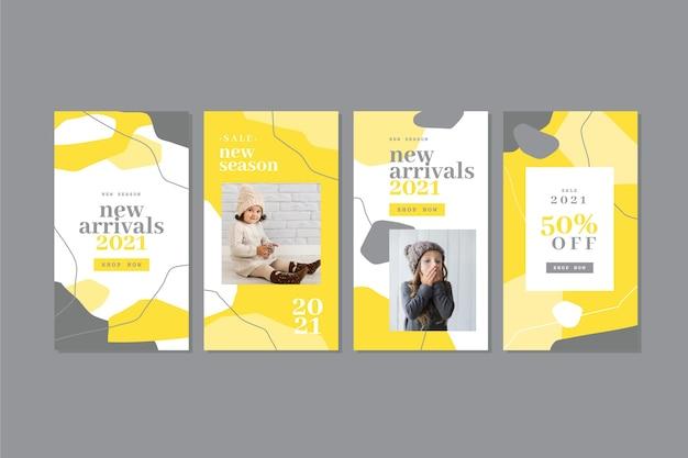 Коллекция желтых и серых органических историй instagram Бесплатные векторы