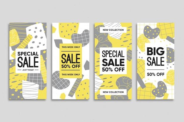 Набор желтых и серых органических историй instagram Бесплатные векторы