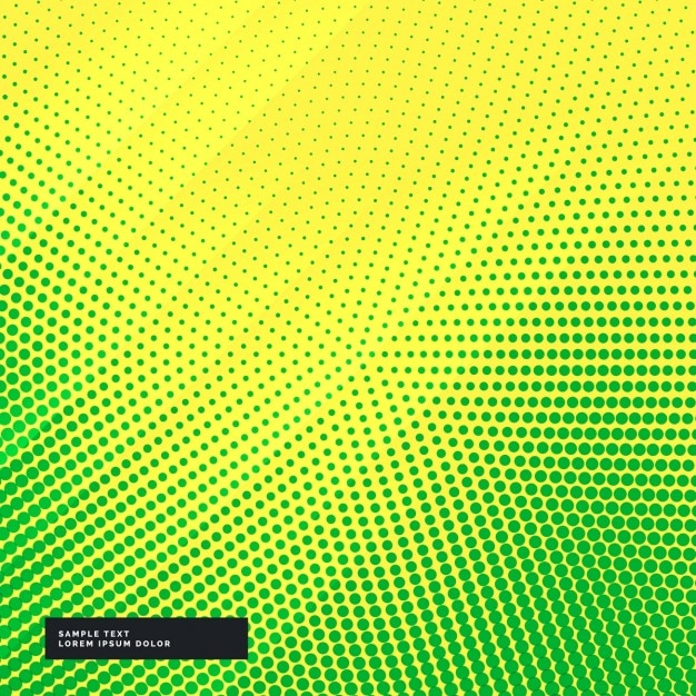 yellow and green background with halftone dots vector