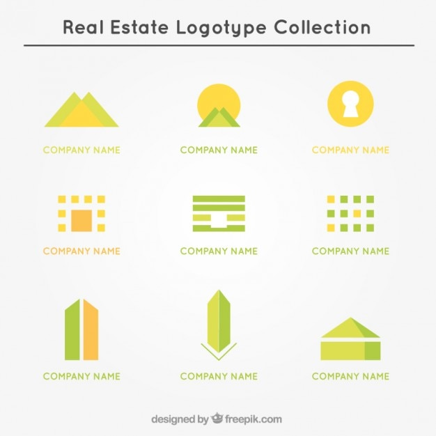 Yellow and green real estate logo collection