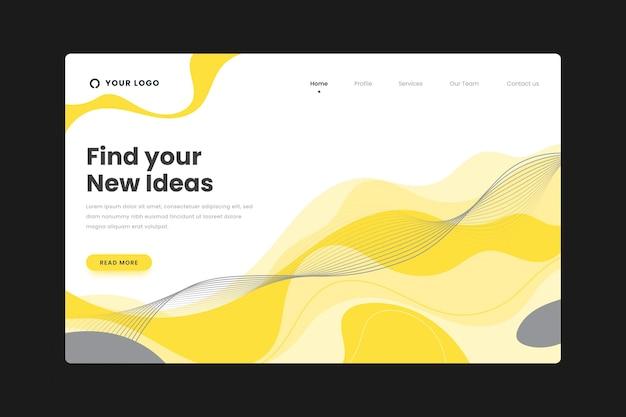 黄色と灰色の抽象的なランディングページ 無料ベクター