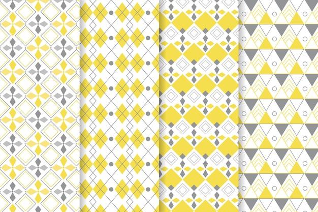 黄色と灰色の幾何学模様 無料ベクター