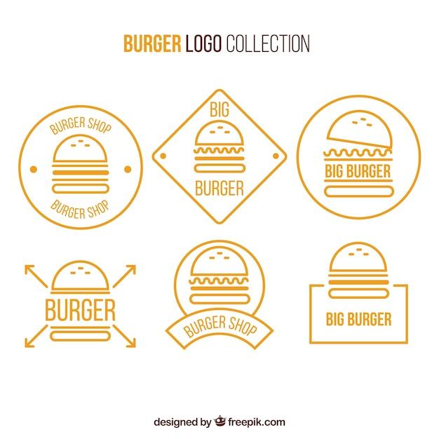 Yellow and white burger logo collection