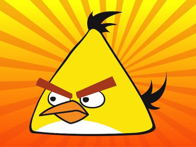 Yellow angry bird gaming vector