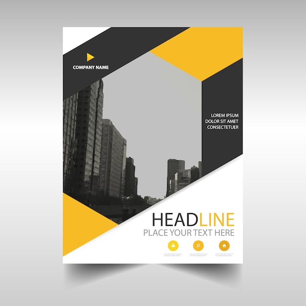 Yellow Book Cover Design ~ Yellow annual report book cover template vector free