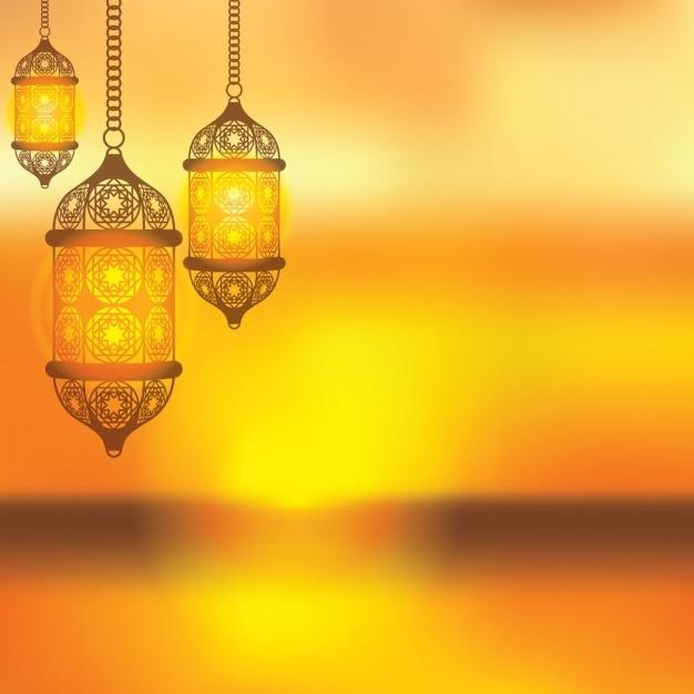 Yellow Arabic Lantern Background Vector Free Download