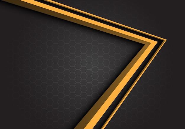 黄色の矢印方向の灰色の六角形のメッシュの背景。 Premiumベクター