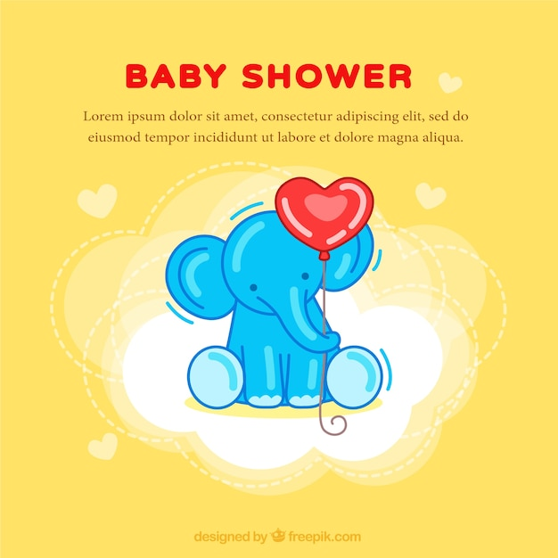 yellow baby shower card with an elephant vector free download