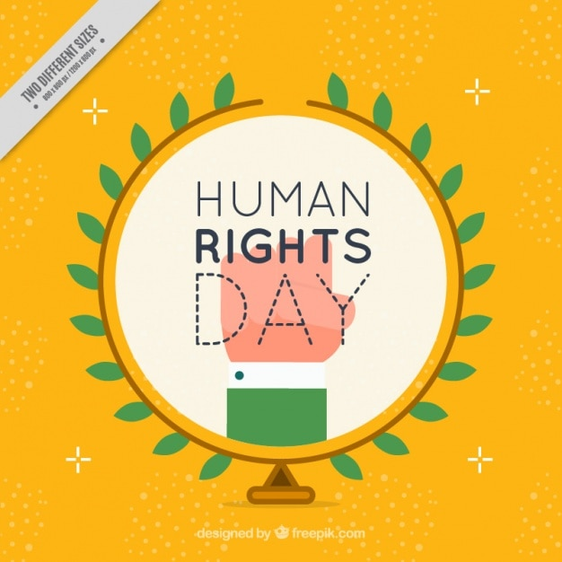 Yellow background for the fight of the human rights
