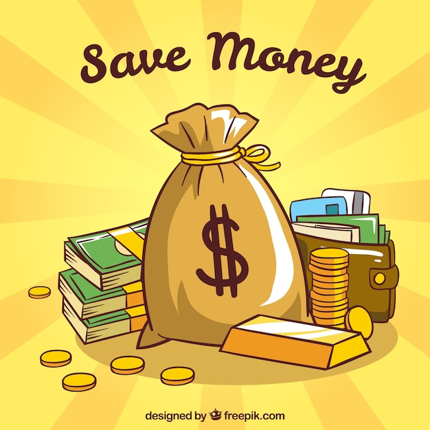 Yellow background of money bag and wallet Free Vector