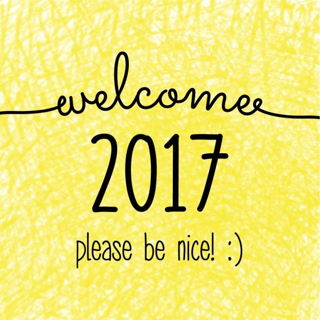 Yellow background new year 2017 Free Vector