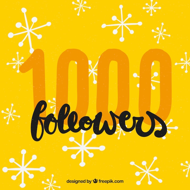 Yellow background of 1k followers with hand drawn stars