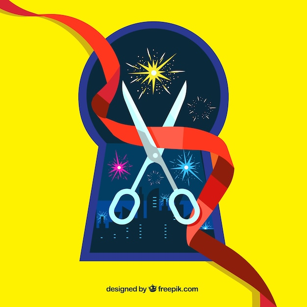 Yellow background with city and scissors cutting a red ribbon