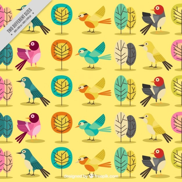 Yellow background with cute birds and\ trees