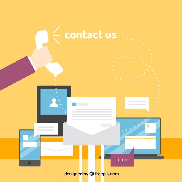 Yellow background with devices and contact elements Free Vector