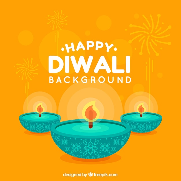 Yellow background with diwali candles in flat design