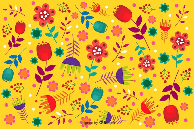 Yellow background with floral design Free Vector