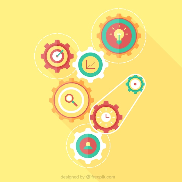 Yellow background with gears in flat design Free Vector