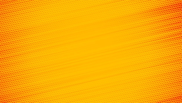 Yellow background with halftone lines design Free Vector