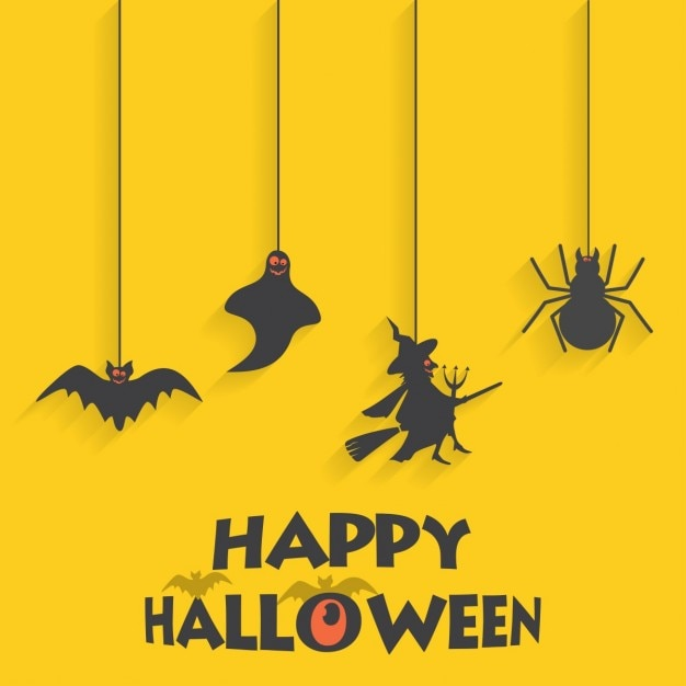 Free Vector Yellow Background With Halloween Elements