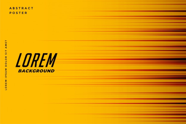 Yellow background with  motion speed lines Free Vector