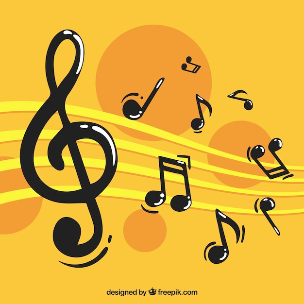 Yellow background with musical notes Free Vector