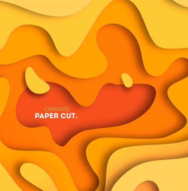 紙で黄色の背景は、形状をカットしました。図。 3d抽象彫刻アート。 Premiumベクター
