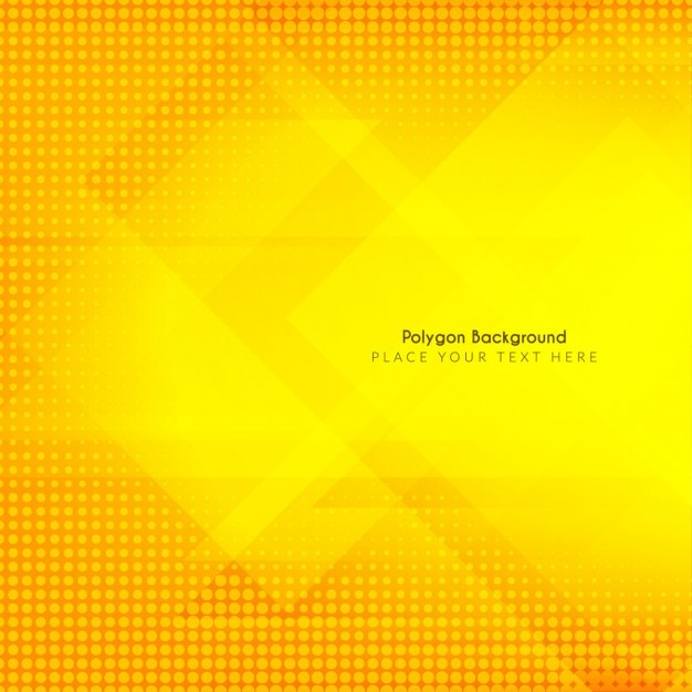Yellow background with polygon shapes and halftone Free Vector